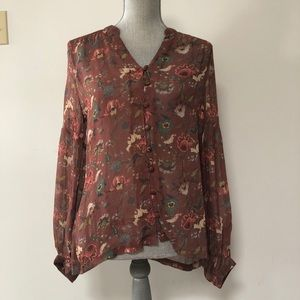 Anthropologie Indi and Cold floral sheer blouse